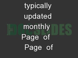 List is typically updated monthly  Page  of   Page  of