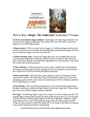 Magic The Gathering Archenemy League Tracking Sheet A