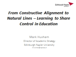 From Constructive Alignment to Natural Lines � Learning t