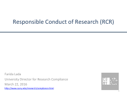Responsible Conduct of Research (RCR) PowerPoint PPT Presentation