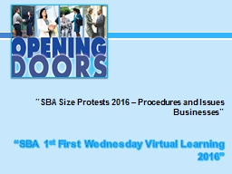 """SBA Size Protests 2016 – Procedures and Issues"