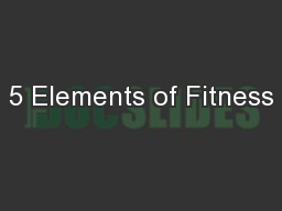 5 Elements of Fitness
