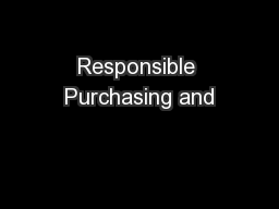 Responsible Purchasing and