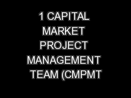 1 CAPITAL MARKET PROJECT MANAGEMENT TEAM (CMPMT