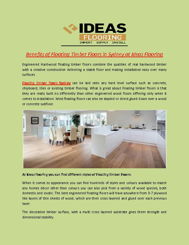 Benefits of Floating Timber Floors in Sydney at Ideas Flooring