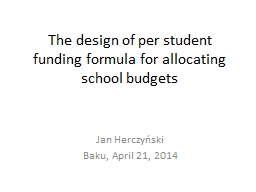 The design of per student funding formula for allocating sc