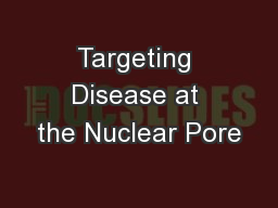 Targeting Disease at the Nuclear Pore PowerPoint PPT Presentation