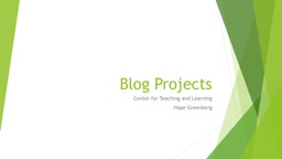 Blog Projects