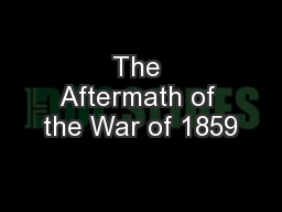 The Aftermath of the War of 1859