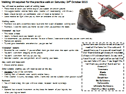 Walking kit required for the practice walk on Saturday  24 PowerPoint PPT Presentation