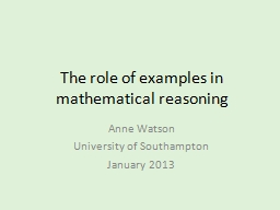 The role of examples in mathematical reasoning PowerPoint PPT Presentation