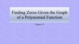 Finding Zeros Given the Graph of a Polynomial Function