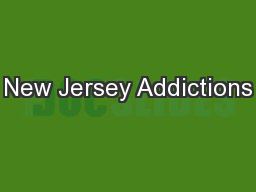 New Jersey Addictions