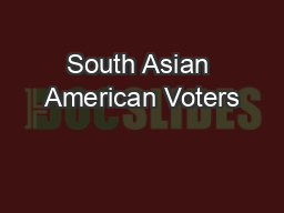 South Asian American Voters