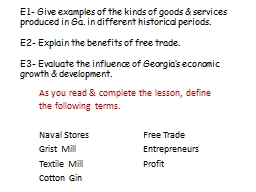 E1- Give examples of the kinds of goods & services