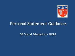 Personal Statement Guidance