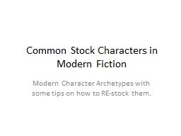 Common Stock Characters in Modern Fiction