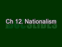 Ch 12. Nationalism