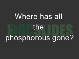 Where has all the phosphorous gone?