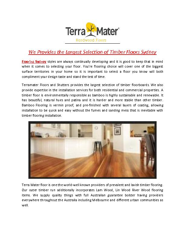 We Provides the Largest Selection of Timber Floors Sydney
