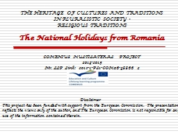 THE HERITAGE OF CULTURES AND TRADITIONS IN PLURALISTIC SOCI