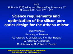 Science requirements and optimization of the silicon pore PowerPoint PPT Presentation