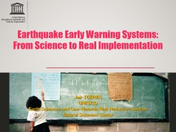 Earthquake Early Warning Systems: PowerPoint PPT Presentation