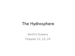 The Hydrosphere PowerPoint PPT Presentation