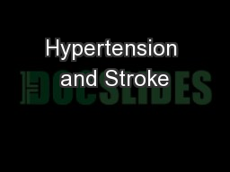 Hypertension and Stroke