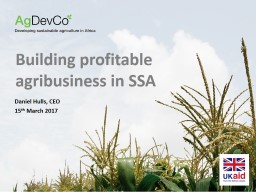 Building profitable agribusiness in SSA