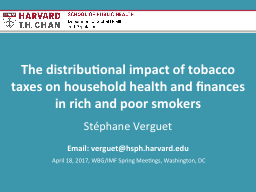 The distributional impact of tobacco taxes on household hea