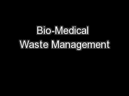 Bio-Medical Waste Management