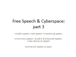 Free Speech & Cyberspace: