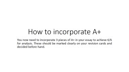 How to incorporate A+