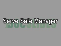 Serve Safe Manager