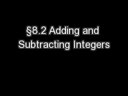 §8.2 Adding and Subtracting Integers
