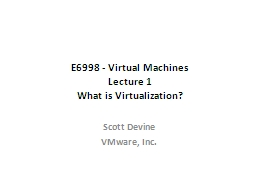 E6998 - Virtual Machines PowerPoint PPT Presentation