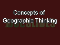Concepts of Geographic Thinking