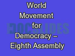 World Movement for Democracy – Eighth Assembly