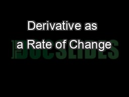 Derivative as a Rate of Change