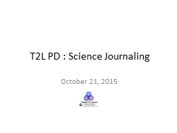 T2L PD : Science Journaling