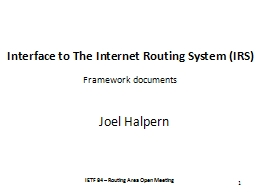 Interface to The Internet Routing System (IRS)