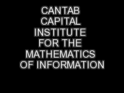 CANTAB CAPITAL INSTITUTE FOR THE MATHEMATICS OF INFORMATION