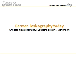 German lexicography today