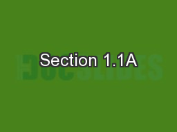 Section 1.1A