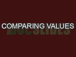 COMPARING VALUES PowerPoint PPT Presentation