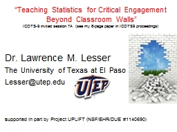 """Teaching Statistics for"