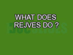 WHAT DOES REJVES DO ?
