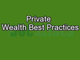 Private Wealth Best Practices