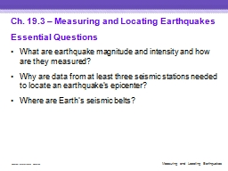 Ch. 19.3 – Measuring and Locating Earthquakes